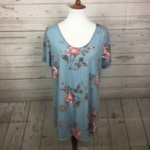 Agnes & Dora SS Everyday Tee Blue/Taupe Floral XL